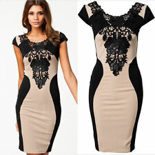 Fashion Women Lace Short Sleeve Slim Sexy Bodycon Party Cocktail Evening Dress