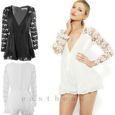 Sexy Women Black White Lace Plunge Skort Playsuit Jumpsuit Romper Shorts
