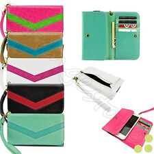 caseen Smart Cell Phone Luxury Card Wallet Wrist Strap Cute Purse Bag Case Cover