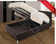 Kenneth Gas Lift Up Ottoman Storage Bed Brown Faux Leather Polished Chrome Feet