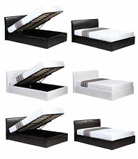 Ottoman GAS LFT 4ft6 DOUBLE Faux Leather Bed. Black or Brown with MEMORY FOAM