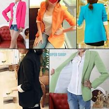 Womens Long Sleeve One Button Candy Color Basic Suit Blazer Coat Jacket Outwear