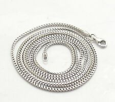 1.5mm Anti-Tarnish Solid Franco Chain Necklace Real 925 Sterling Silver ITALY