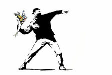 Banksy Flower Chucker Canvas Print Decor, Choose Your Size !!!