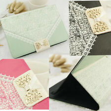 NEW Gold BOW Lace Leather Wallet Flip Card Holder Case Cover For Apple iPad Mini