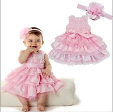 Baby Girls Summer Kid Outfit Tutu Skirt Bow Dress +Flower Headband Clothes HOT!!