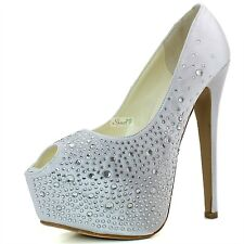 Women Extreme Platform Peep Toe Bridal Party Dress High Heel Stilettos Pump Shoe
