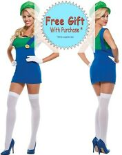 Green Jumping Plumber Sexy Mario Women Halloween Costume Fancy Party @MS5706