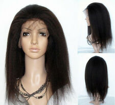 "8""-22"" full/lace front wigs kinky straight 100% Indian remy human hair wig #1B"