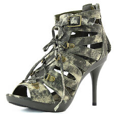 Women Lace Up Ankle Strap High Heel Army Green Strappy Platform Sandals