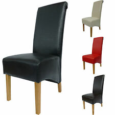 Luxury real Leather Dining Chairs Scroll Back Oak Legs Furniture Room Kitchen