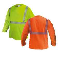 ANSI Class II Reflective Safety Lime/ Orange Long Sleeve T-Shirt HIGH VISIBILITY