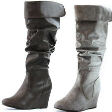Breckelle Terry-84 Wedge Boated Thick Heel Knee High Dress Boots Women Shoes