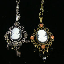 "30"" ANTIQUE LOOK CAMEO NECKLACE W/ CRYSTAL STONES/ GOLD OR SILVER + EARRINGS"
