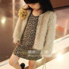 Elegant Baby Girl Print Leopard Round Collar long Sleeves Party Dress Top