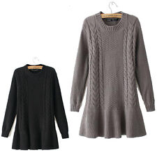 Girl's Pure Color Outwear Fashion Long sleeve Round  Neck Sweaters Coat XD0011