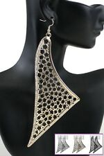 LARGE DROP BLACK, GOLD & SILVER TONE LEOPARD TEXTURED, SAIL SHAPE, EARRINGS