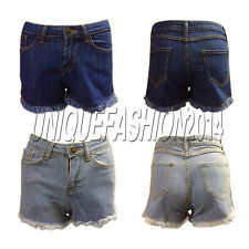 New Denim Hotpants Vintage Cut Off High Waisted Denim Cotton Shorts Size 8-14
