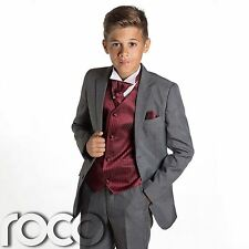 Boys Grey Suit, Page Boy Suits, Prom Suits, Boys Wedding Suits, Wine Waistcoat