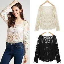Crochet Lace T Shirt Floral Top Women Blouse Sheer Embroidery Sleeve Semi M,L