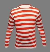 NEW MENS LONG SLEEVE WHERES WALLY WALDO RED STRIPED STRIPY FANCY DRESS T-SHIRT