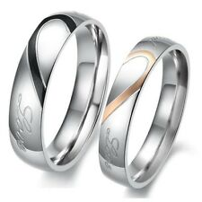 Couple Heart Shape Matching Stainless Steel Promise Lovers Wedding Bands Ring J