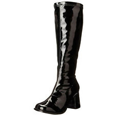 FUNTASMA Retro Stretchy Patent Wide Width Knee High Boot GOGO-300X Black