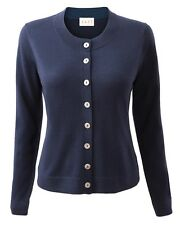 East Crew Neck Button Merino Cardigan in Navy Blue by East