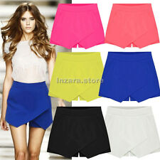 Fashion Women Solid Tiered Asymmetric Wrap Shorts Skorts Skirts Mini Short Pants