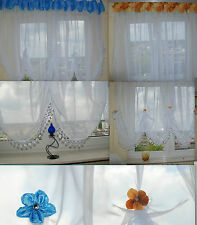 Beautiful Ready Made White Voile Net Curtain, New Fashion Floral Style Windows