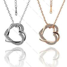 Women's 18K Rose Gold Pleated Heart Crystal Pendant Chain Necklace Gift Jewelery