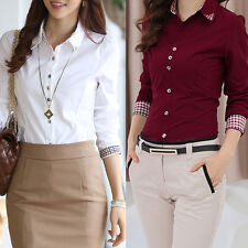 Women's Long Sleeve OL T Shirt Turn-down Collar Button Blouse Tops S M L XL