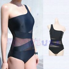 One Shoulder Mesh Bikini Padded One Piece Monokinis Bathing Suit Swimwear