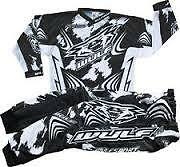 WULFSPORT KIDS MOTOCROSS ENDURO SPEEDWAY KIT TOP AND PANTS 2013 BLACK/WHITE NEW