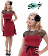 Steady Clothing ~ Rockabilly Red Wine SPARROW Ribbon Dress ~ 50s Pinup
