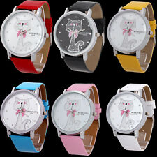 New Arrival Womens Girls Big Cat Quartz Watches Leatheroid Band Wristwatch