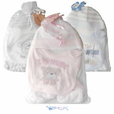 NEW BORN HAT, BIB, BOOTEE SET FOR A GIRL - PINK, BOY - BLUE, WHITE UNISEX - GIFT