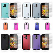 For Kyocera Hydro Icon - Hybrid Phone Cover Case and Clear Screen Protector