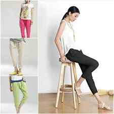 Womens Motherhood Casual Harem Pant Slim Solid Color Pregnancy Lady Linen Pants