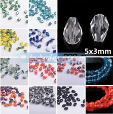 100pcs Faceted Glass Crystal Charms Findings Water Drop Spacer Loose Beads 5X3mm