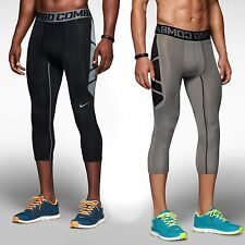 NIKE PRO COMBAT HYPERCOOL PANTS 3/4 LENGTH BLACK GREY BLUE TIGHTS trouser 617348
