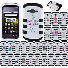 For Samsung Galaxy Ring Prevail 2 M840 White/Black Impact Tuff Hybrid Case Cover