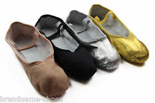 GIRLS WOMENS DANCE BALLET CANVAS / LEATHER SHOES KIDS CHILDRENS FLATS SLIPPERS
