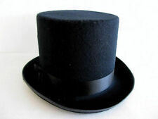 Black Deluxe Felt High Crown Tall Gentlemens Top Hat Victorian Costume 23734