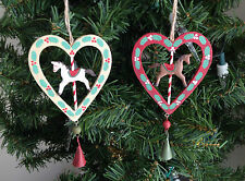 New Gisela Graham Wooden Heart with Horse & Bell Christmas Tree Decoration