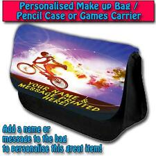 PERSONALISED BMX STUNT RIDER PENCIL CASE GAMES TRAVEL MAKE UP BAG ST177