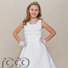 Girls White Dress Girls First Holy Communion Dress Wedding Bridesmaid 6 - 10 yrs