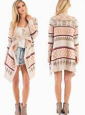 Taupe Peach Ivory Aztec Navajo Tribal Knit Open Striped Cardigan Sweater Hot NWT