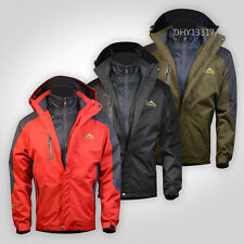 New Mens Waterproof 3 in 1 Raincoat Rainwear Hooded Coat Jacket skiing sailing