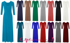 NEW WOMENS LADIES PLAIN COLOR 3/4 SLEEVE FLARE MAXI JERSEY DRESS SIZE 8-26